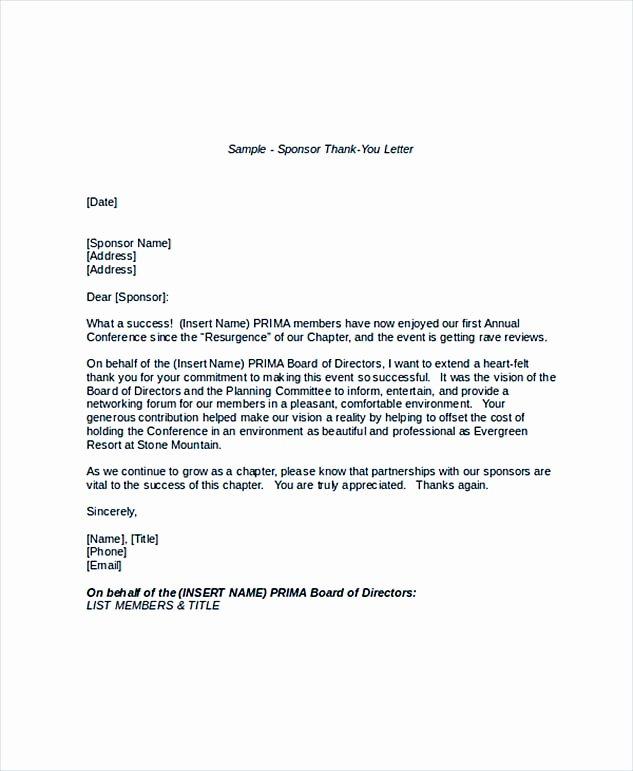 Sample Thank You Letter for Sponsorship Luxury Sample Thank You Letter