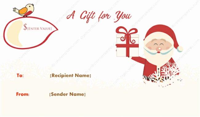 Santa Gift Certificate Template Inspirational Merry Santa Christmas Gift Certificate Template Get