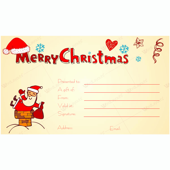 Santa Gift Certificate Template Luxury Printable Christmas Gift Certificate Featuring Santa