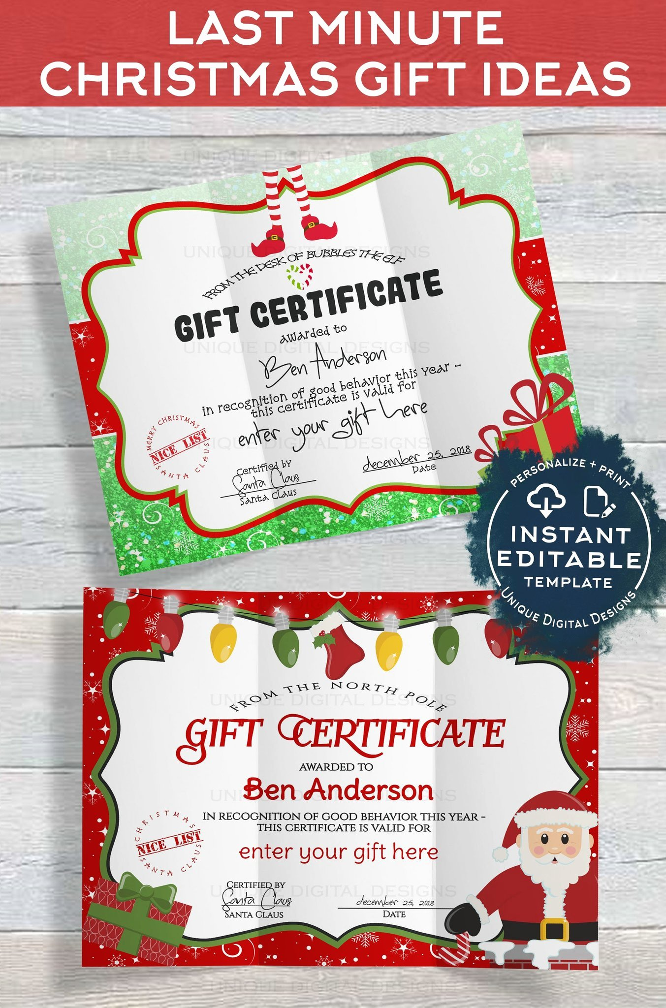 Santa Gift Certificate Template New Gift Certificate Template Editable Gift Certificate From