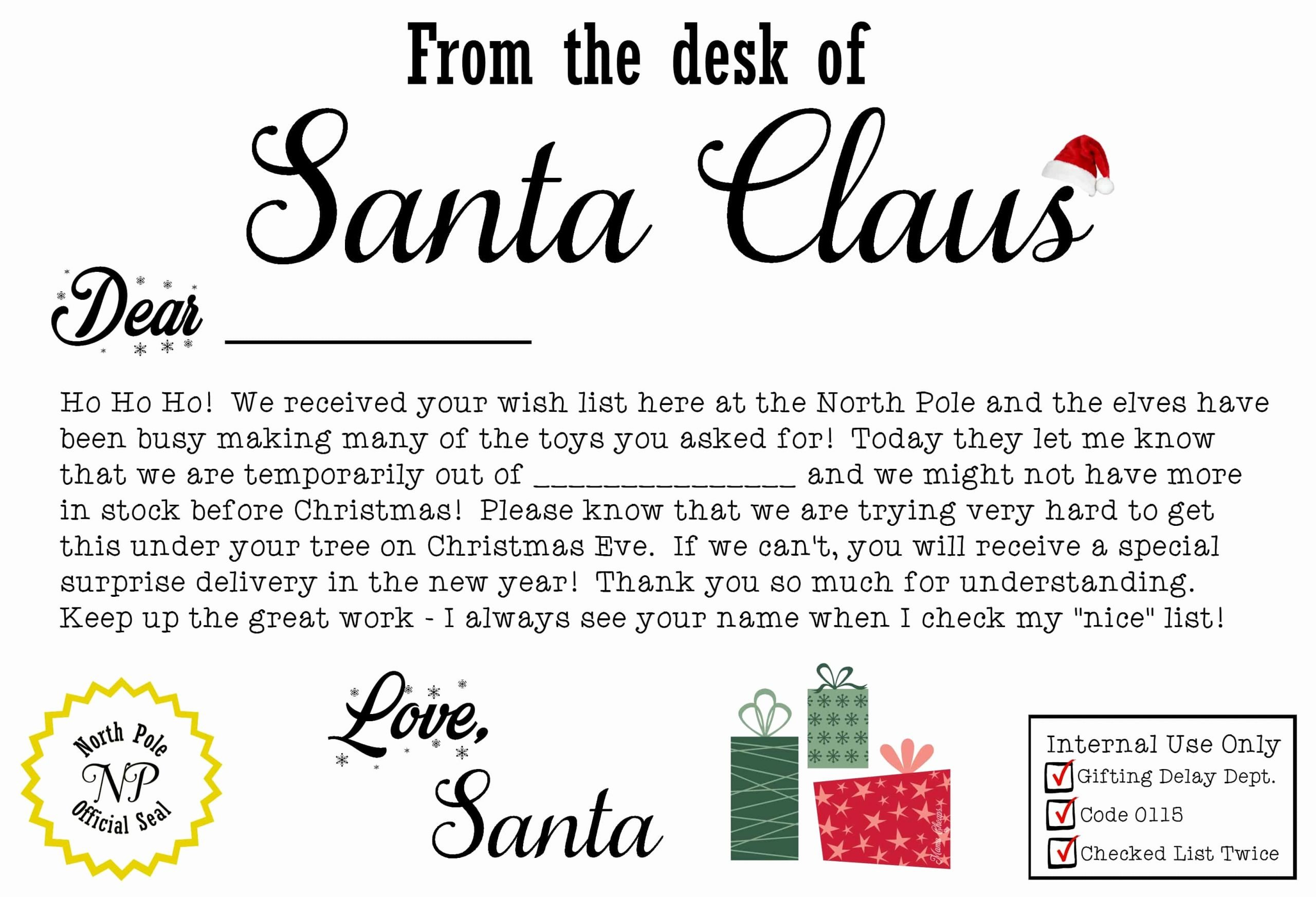 Santa Gift Certificate Template Unique Free Santa Claus Christmas Present Iou Printable Letter