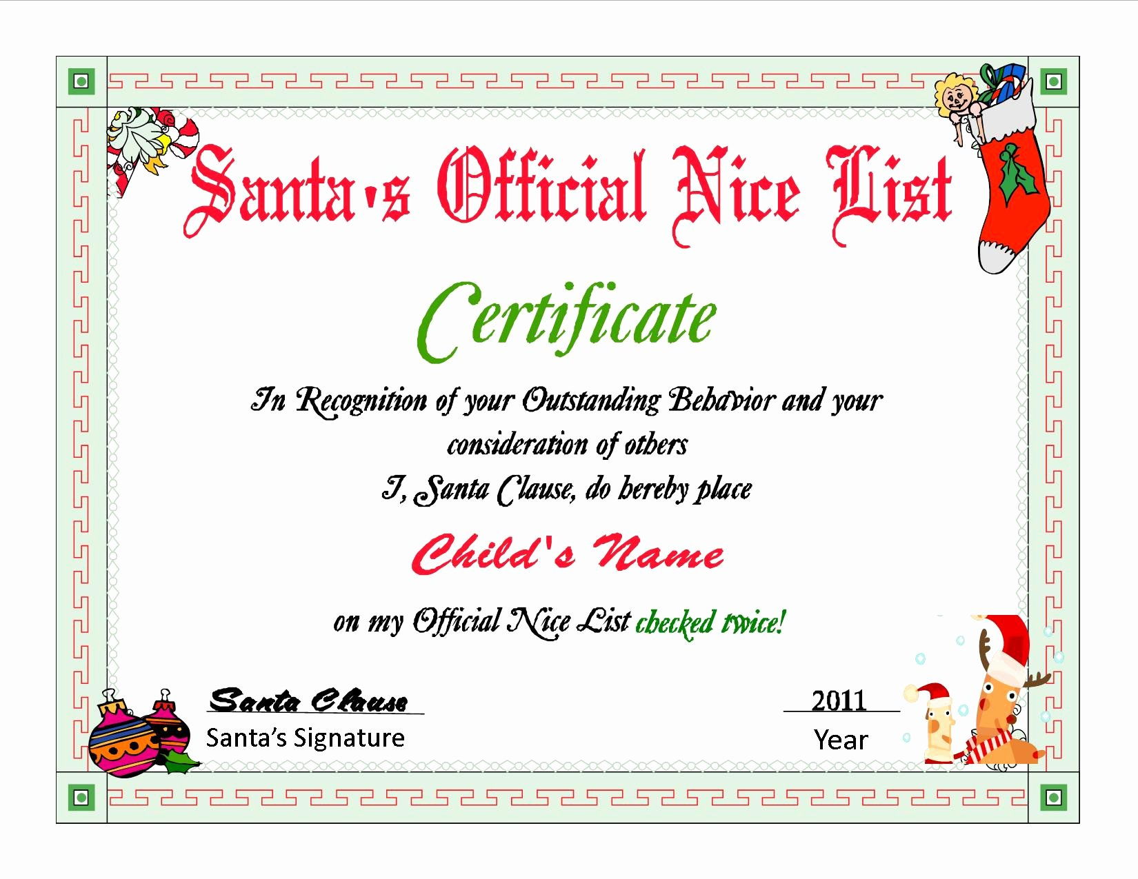 Santa's Nice List Certificate Template Awesome Quotes From Santa Quotesgram