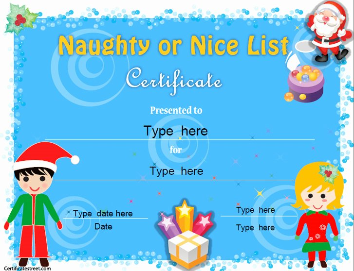 Santa's Nice List Certificate Template Beautiful Special Certificates Naughty or Nice Certificate