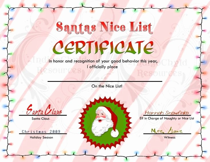 Santa's Nice List Certificate Template Best Of 1090 Best Images About Letters From Santa On Pinterest