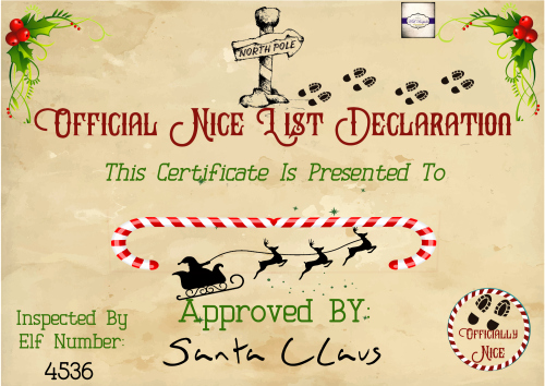 Santa's Nice List Certificate Template Elegant Personalised Nice List Certificate north Pole