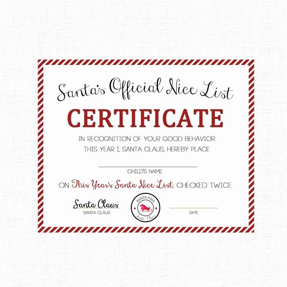 Santa's Nice List Certificate Template Lovely Nice List Certificate by Adelicate T