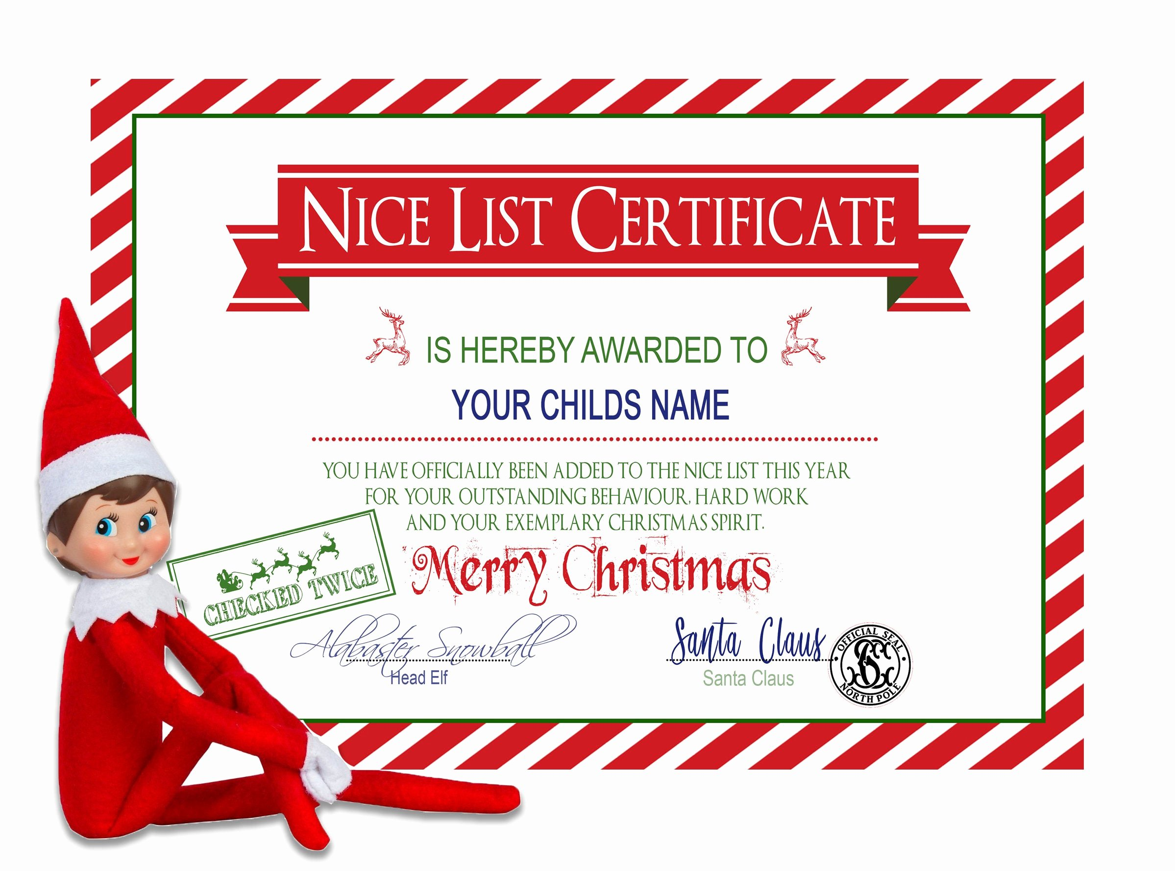 Santa's Nice List Certificate Template Lovely Santa S Nice List Personalized Christmas Certificate