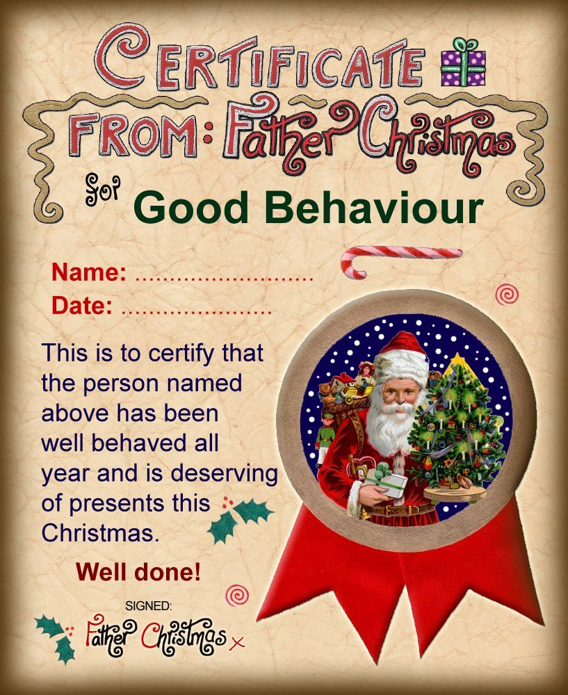 Santa's Nice List Certificate Template New Santa Certificate Of Good Behaviour