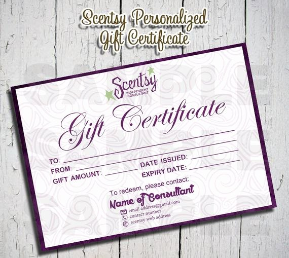 Scentsy Gift Certificate Template Fresh Scentsy Personalized Gift Certificate by Aplusprints On Etsy