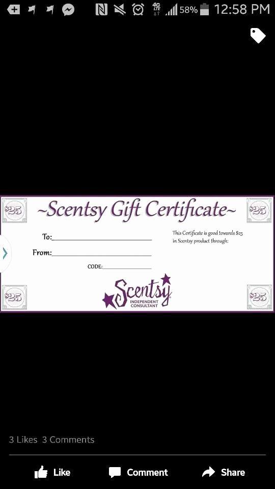 Scentsy Gift Certificate Template Unique Scentsy Gift Certificate Scentsbykris Scentsy