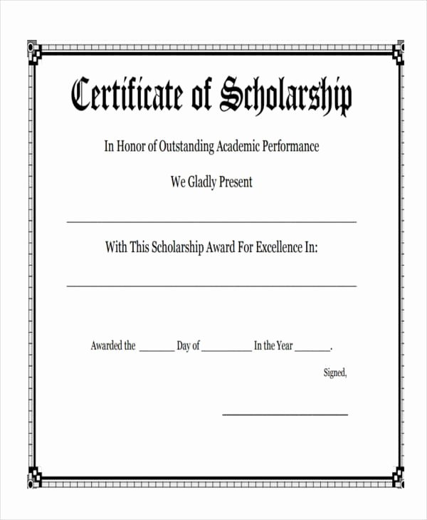 Scholarship Award Certificate Template Fresh Free 47 Award Certificate Examples and Samples In Word