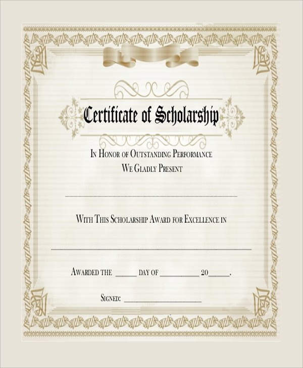 Scholarship Award Certificate Template Inspirational Sample Blank Certificate 8 Documents In Pdf Word