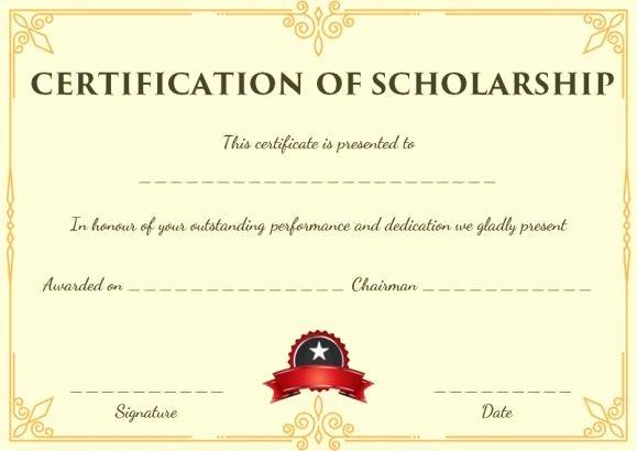 Scholarship Award Certificate Template Lovely Blank Scholarship Certificate Template