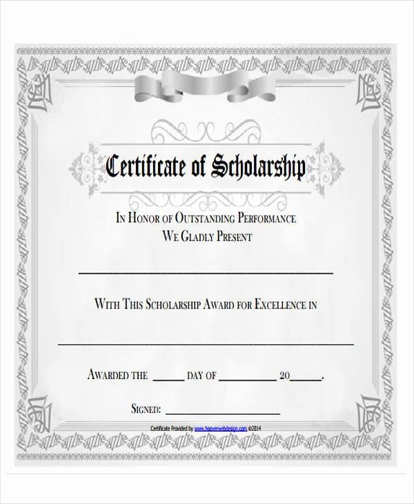 Scholarship Award Certificate Template New 43 Printable Award Certificates Word Psd Ai Eps Vector