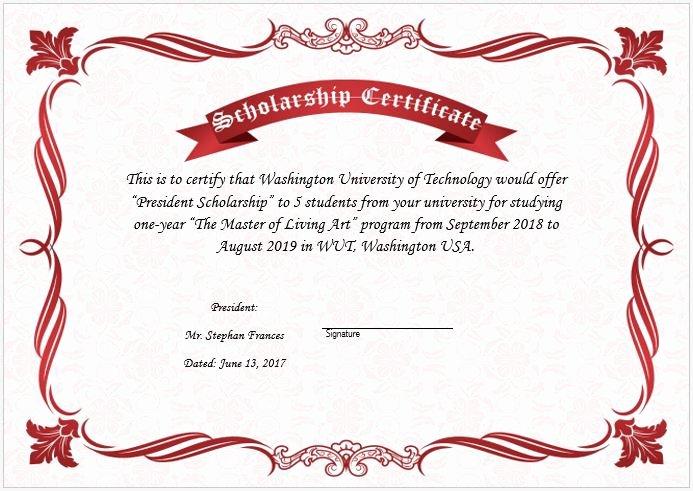 Scholarship Award Certificate Template New Scholarship Award Certificate Template