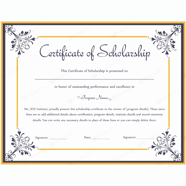 Scholarship Award Certificate Templates Awesome Certificate Of Scholarship 06