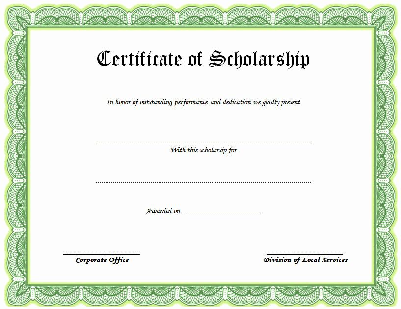 Scholarship Award Certificate Templates Awesome Scholarship Certificate Template top 10 Greatest Ideas