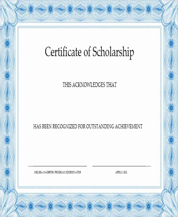 Scholarship Award Certificate Templates Elegant 31 Award Certificates In Word format