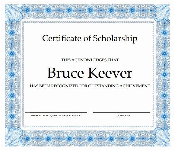 Scholarship Award Certificate Templates Elegant Free 9 Scholarship Certificate Templates In Free Samples