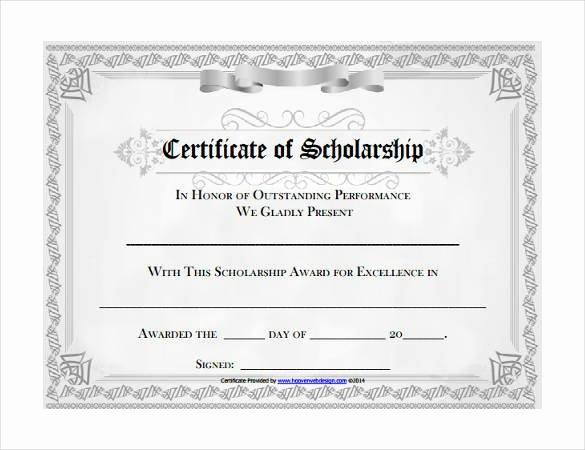 Scholarship Award Certificate Templates Elegant Microsoft Templates – 18 Free Word Excel Ppt Pub