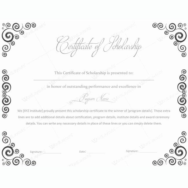 Scholarship Award Certificate Templates Luxury 13 Best Certificate Of Scholarship Templates Images On