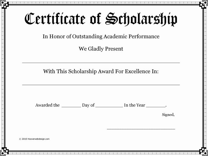 Scholarship Award Certificate Templates Luxury Certificate Of Scholarship Pto Teacher Gifts