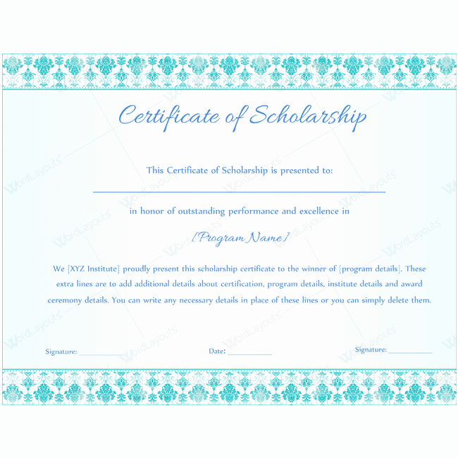 Scholarship Award Certificate Wording Awesome 89 Elegant Award Certificates for Business and School events