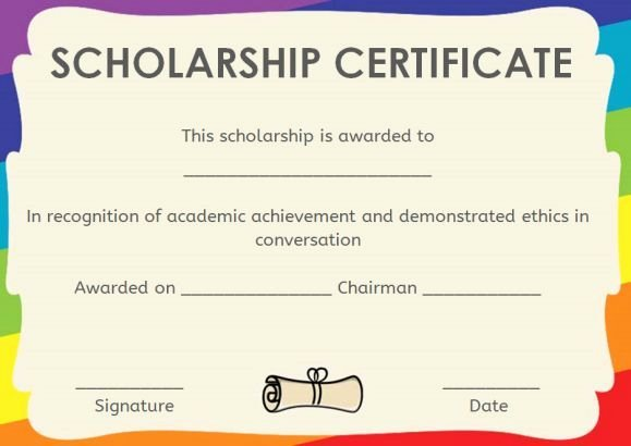 Scholarship Award Certificate Wording Beautiful 11 Best Scholarship Certificate Template Images On
