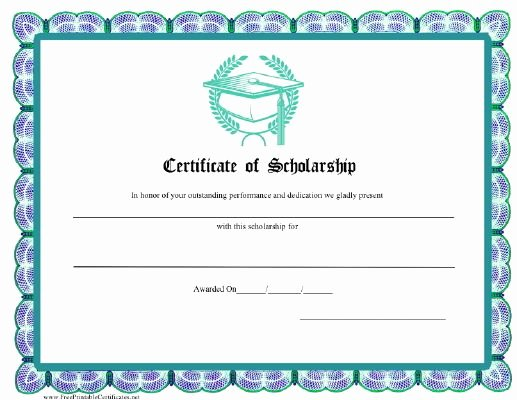 Scholarship Award Certificate Wording Beautiful A Certificate Of Scholarship In Aqua Blue with A Graphic