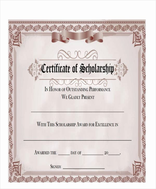 Scholarship Award Certificate Wording Beautiful Free 47 Award Certificate Examples and Samples In Word