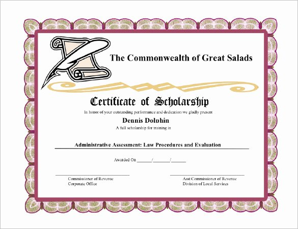Scholarship Award Certificate Wording Fresh 11 Scholarship Certificate Templates