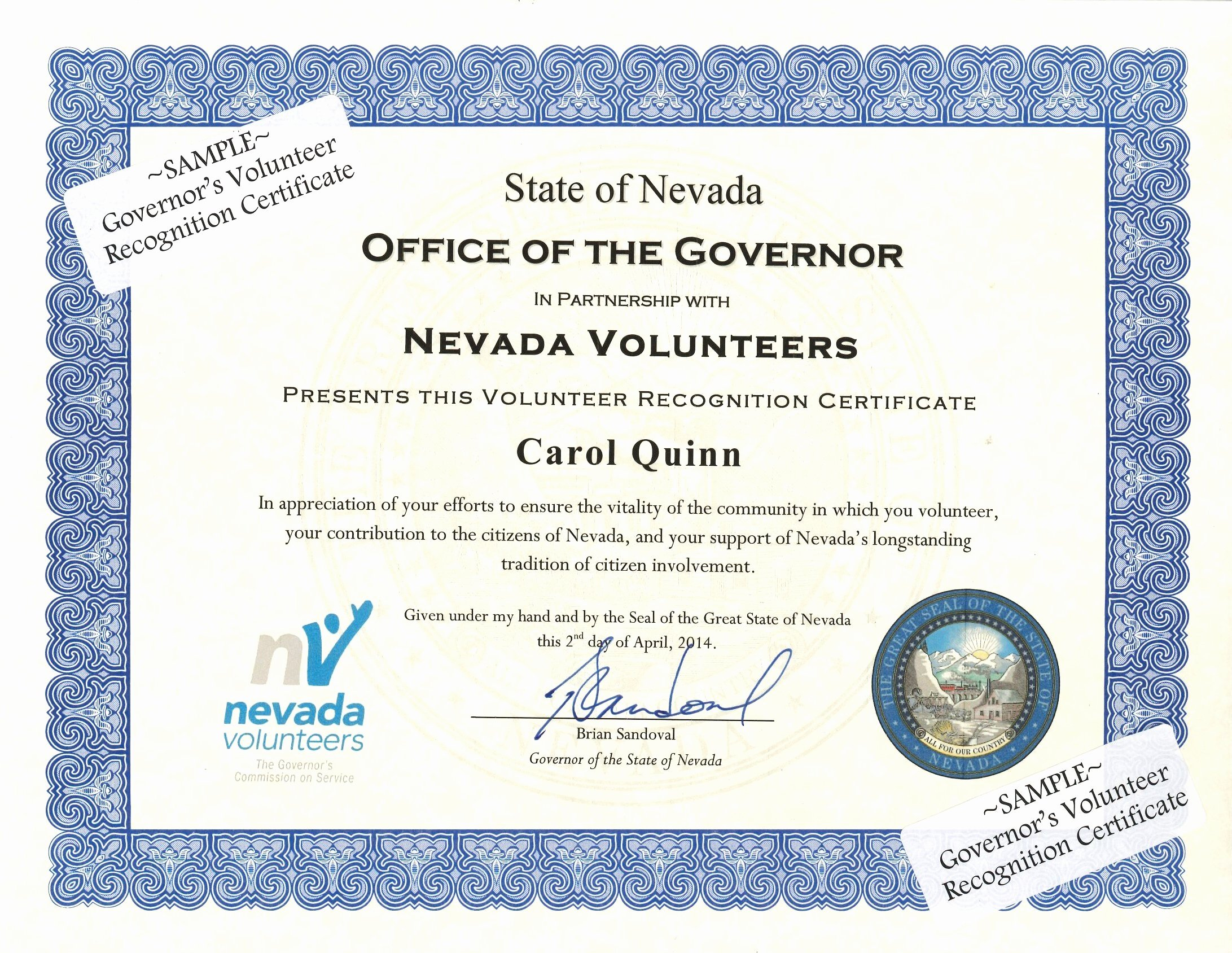 Scholarship Award Certificate Wording Fresh Governor S Volunteer Recognition Certificate Nevada