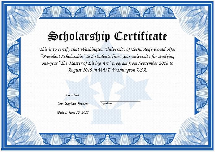 Scholarship Award Certificate Wording Inspirational Scholarship Award Certificate Template