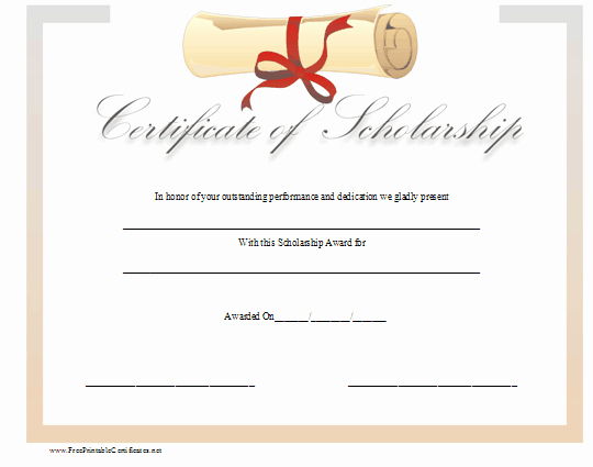 Scholarship Awards Certificates Templates Fresh This Certificate Of Scholarship is topped by A Diploma