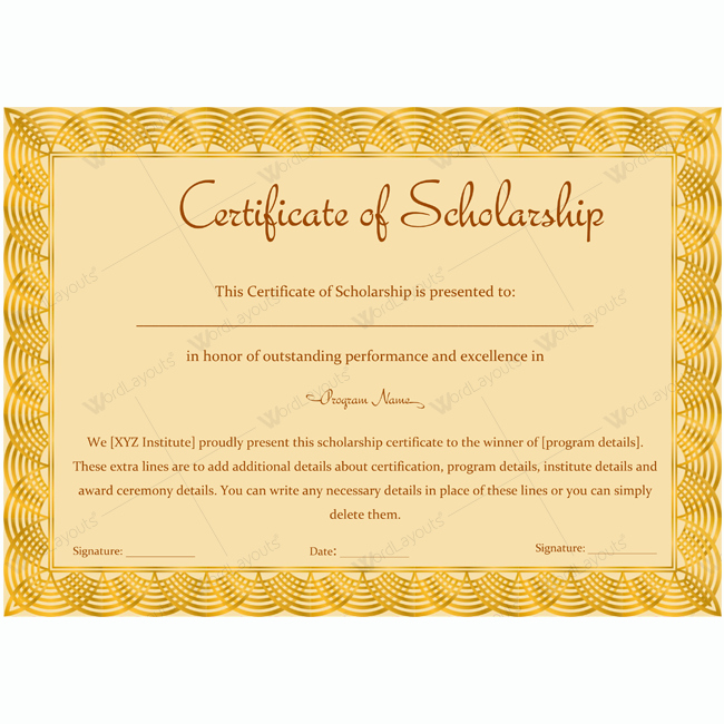 Scholarship Awards Certificates Templates New Certificate Of Scholarship 12