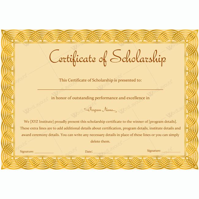 Scholarship Awards Certificates Templates New Certificate Of Scholarship 12