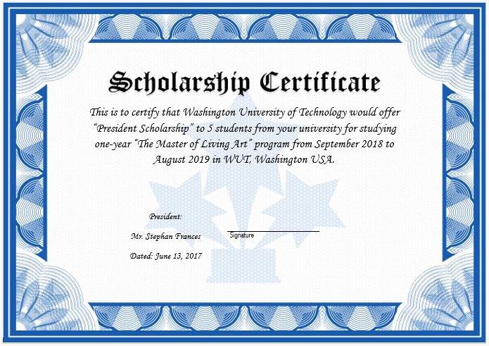 Scholarship Awards Certificates Templates Unique Scholarship Award Certificate Template
