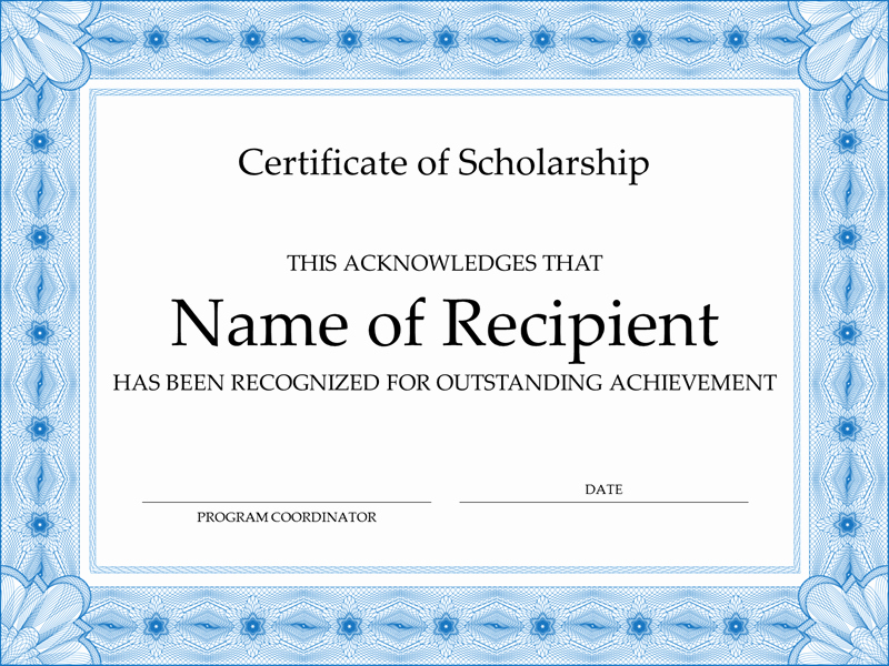 Scholarship Certificate Template for Word Beautiful Certificate Of Scholarship formal Blue Border