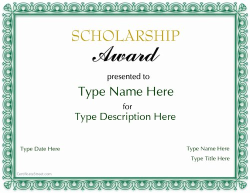 Scholarship Certificate Template for Word Best Of Special Certificates Scholarship Award