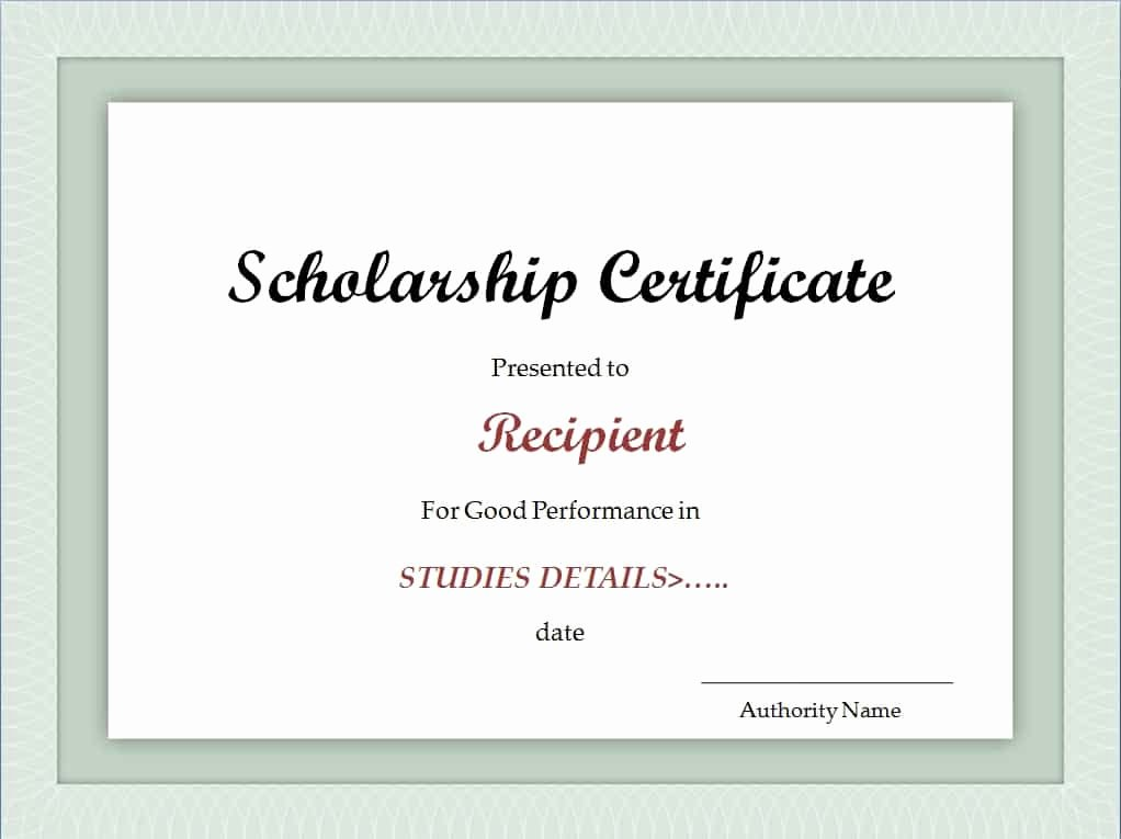 Scholarship Certificate Template for Word Fresh Scholarship Certificate Template Excel Xlts