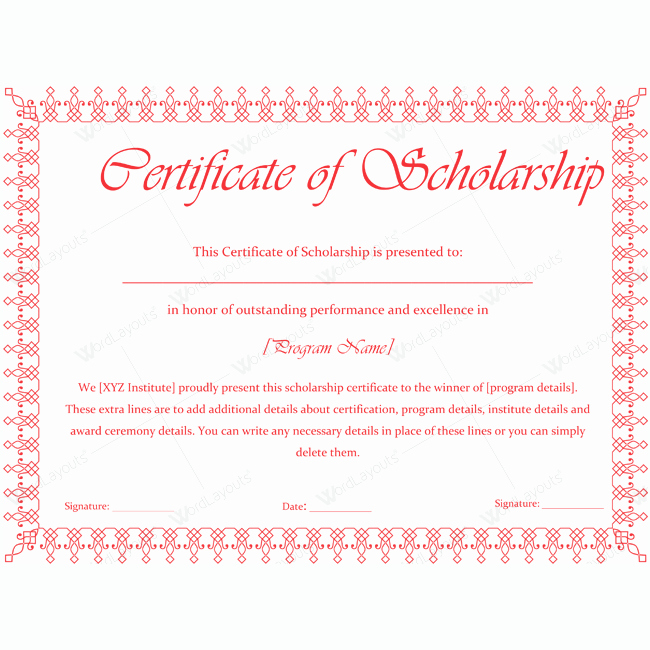 Scholarship Certificate Template for Word Inspirational Certificate Of Scholarship 11 Word Layouts