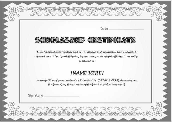 Scholarship Certificate Template for Word Lovely Scholarship Award Certificate Template