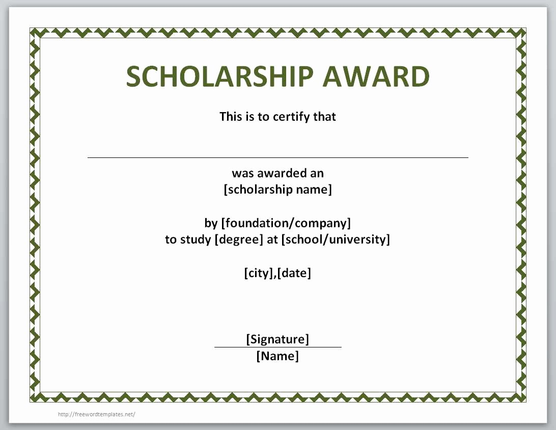 Scholarship Certificate Template Free Awesome 13 Free Certificate Templates for Word