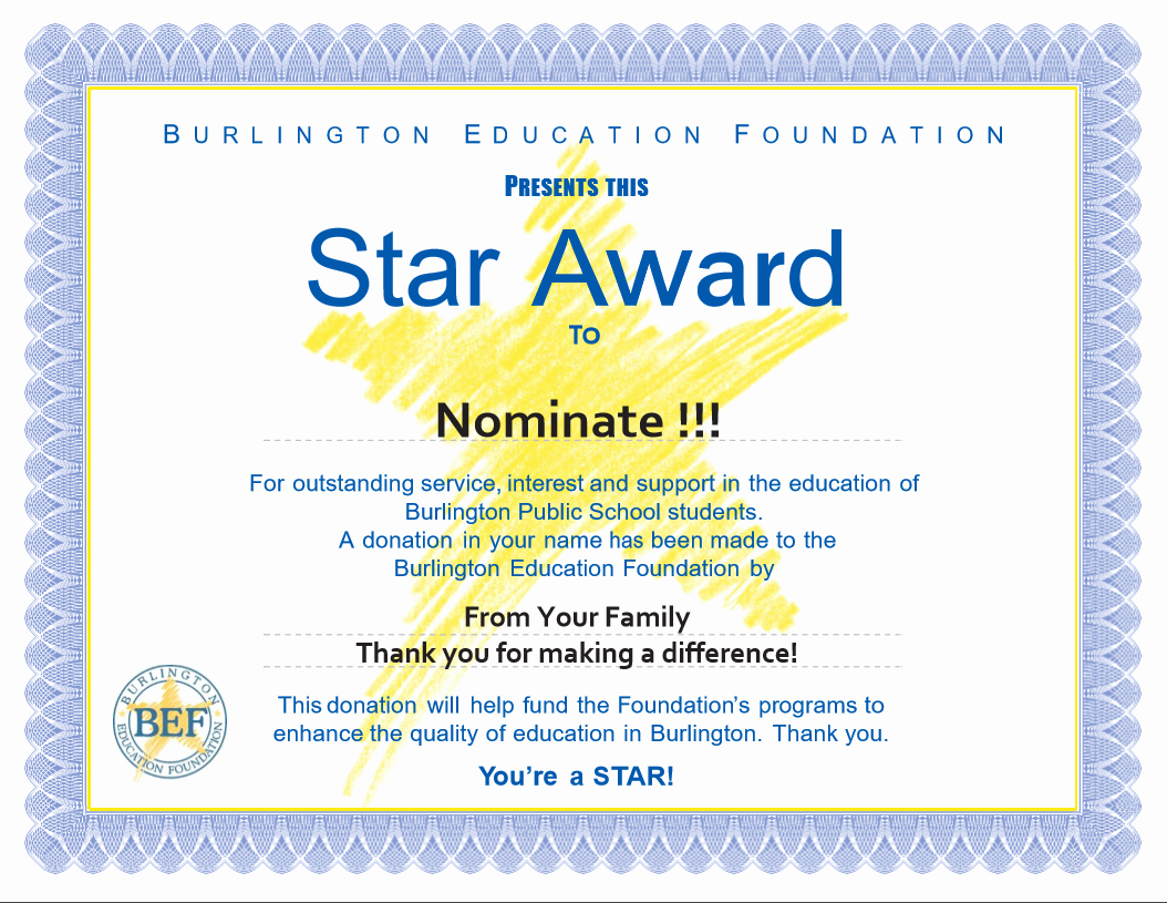 Scholarship Certificate Template Free Fresh Star Awards Burlington Education Foundation