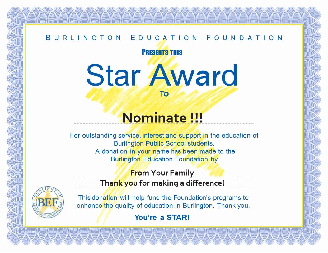 Scholarship Certificate Template Free Fresh Star Awards Burlington Education Foundation