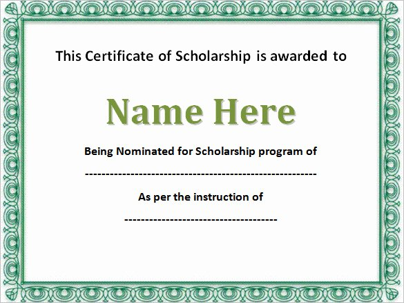 Scholarship Certificate Template Free Inspirational 43 formal and Informal Editable Certificate Template
