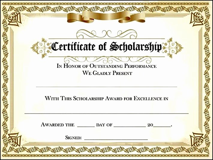 Scholarship Certificate Template Free Lovely Scholarship Award Certificate