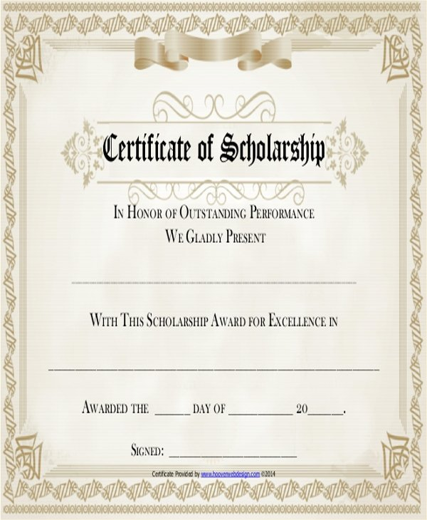 Scholarship Certificate Template Free Luxury 19 Sample Award Certificates Word Psd Ai Eps Vector
