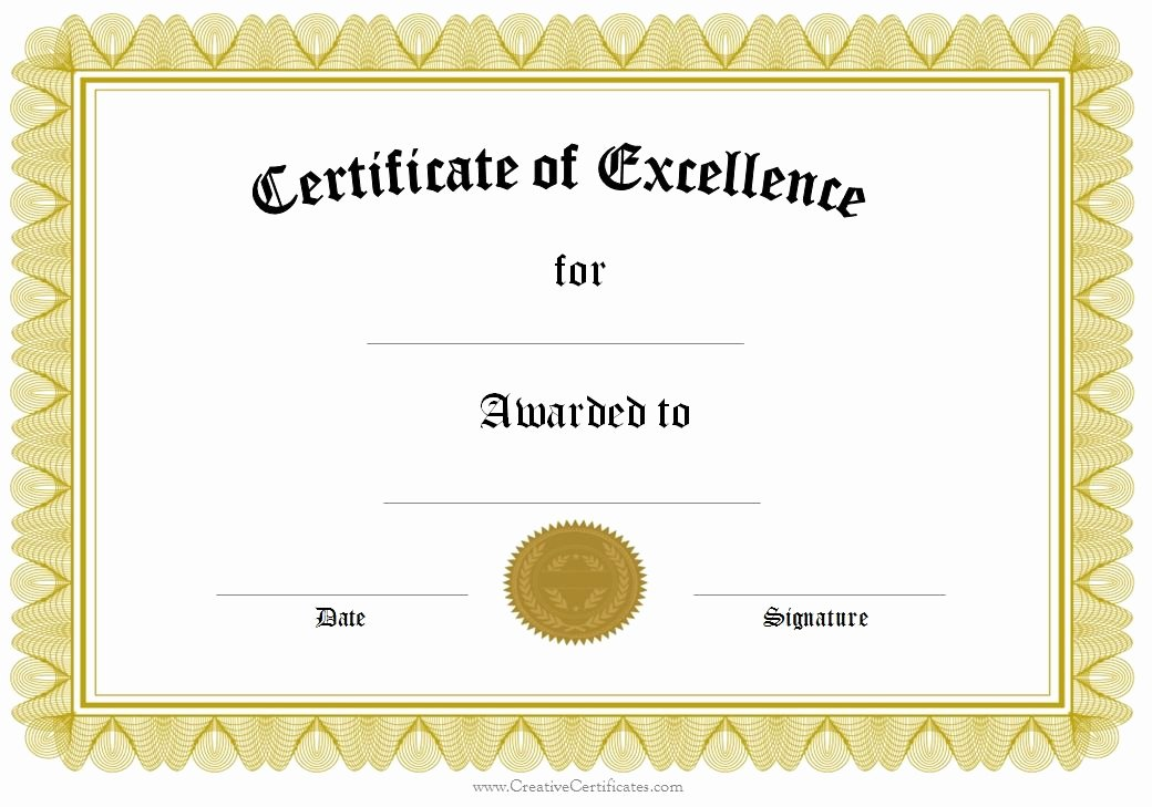 Scholarship Certificate Template Free Luxury Award Of Excellence