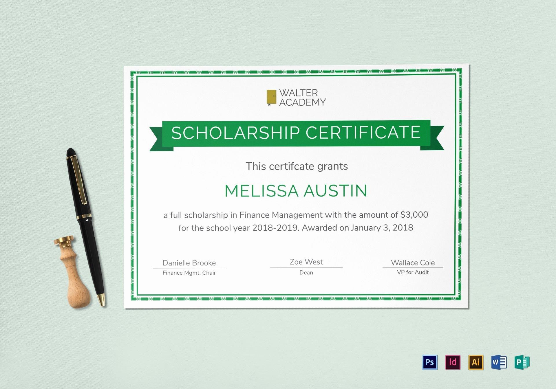 Scholarship Certificate Template Free Luxury Scholarship Certificate Design Template In Psd Word